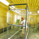 Dual Entry Paint Booth - Self-Contained Downdraft 24'(L) Dual Entry Wet Coating Booth
