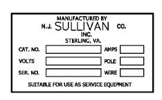 NJ Sullivan Manufacture Label