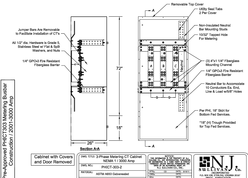 PEPCO 2001 3000 Amp NEMA 3R CT Cabinet ct cabinet wiring diagram wiring diagrams  at reclaimingppi.co