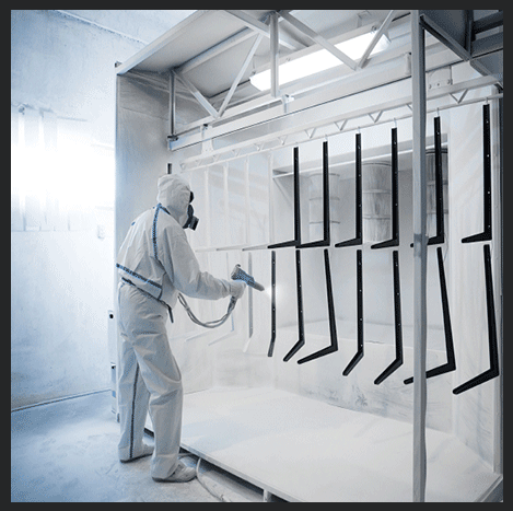 """Powder Coating CAPABILITIES THAT INCLUDE:  MIL-SPEC, CARC, """"POLANE""""  POLYURETHANE, STANDARD AND CUSTOM POWDER AND PAINT COLORS"""
